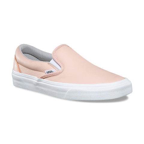 van classic slip on leather shoes side view womens slip on shoes peach vn0a38g1q6l