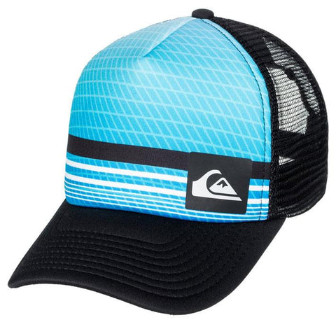 quicksilver foamnation trucker hat boy front view youth hats blue/black aqbha03224-rrk0