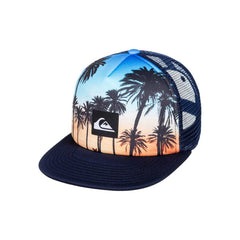 quicksilver mix tape trucker hat boys front view youth hats navy/orange aqbha03284-bjq0