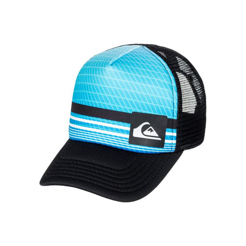 quicksilver baby foamnation trucker hat front view toddlers hat black/blue aqiha03071-bmm0