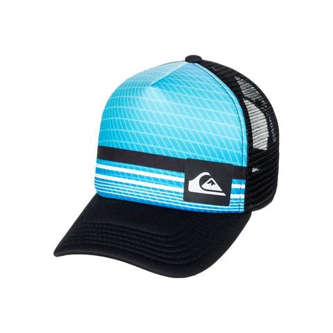 quicksilver foamnation trucker hat boy front view toddlers hat black/blue aqkha03194-bmm0