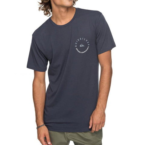 quicksilver camino technical tee front view mens t-shirts short sleeve navy blue aqyzt05195-bst0