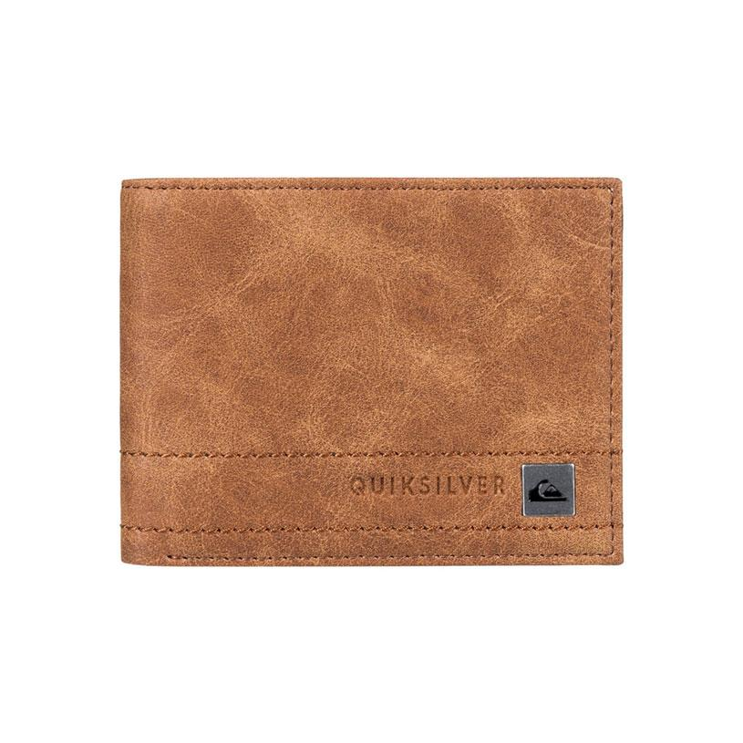 quicksilver stitchy bi-fold wallet front view mens wallets brown eqyaa03636-cmk0
