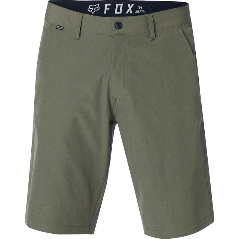 fox essex tech stretch short front view mens shorts military green 19047-111