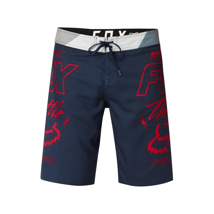 fox throttle boardshorts front view mens boardshorts navy/red 21129-329
