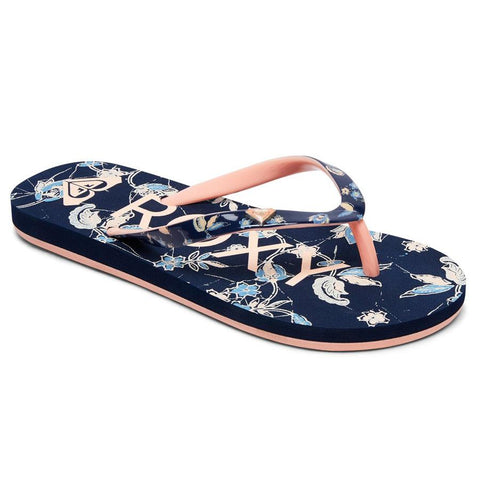 roxy pebbles vi girls front view kids sandals navy/pink arlg100182-nvy