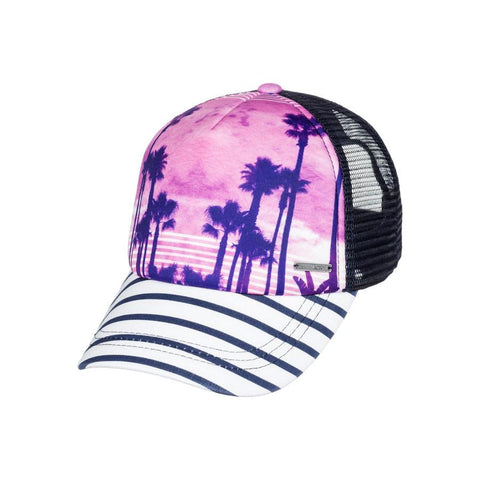roxy just ok trucker hat girls front view youth hats black/purple ergha03103-wclh