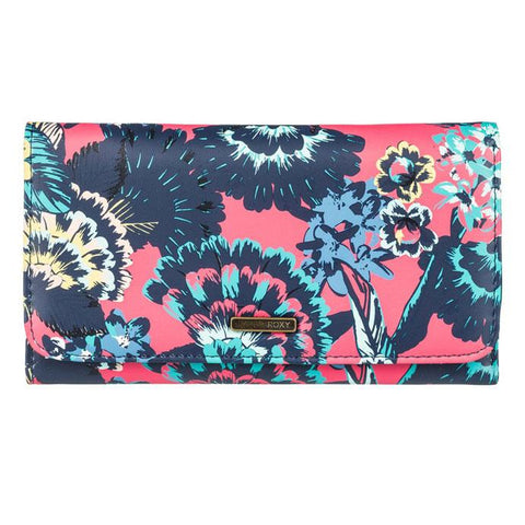 roxy my long eyes tri fold wallet front view womens wallets pink/blue erjaa0389-mlj5