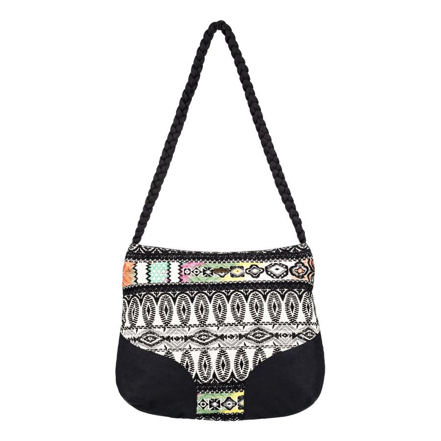 roxy feeling this way handbag front view womens purses black/white erjbp03659-kvj0