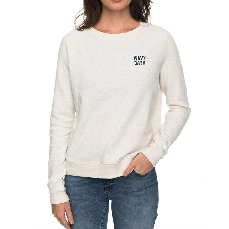 roxy Hope To Love Pull Over Sweatshirt front view womens sweaters off white erjft03697-tenh