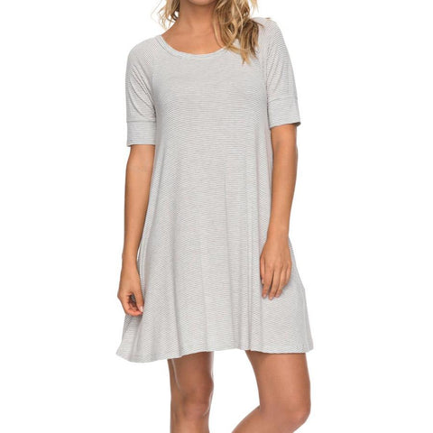 roxy Smitten Kitten Swing Dress front view casual dress white stripe erjkd03176-sgr3