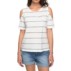 roxy Uptown Sun Cold Shoulder Tee front view womens short sleeve shirts white stripe erjkt03358-xwkw