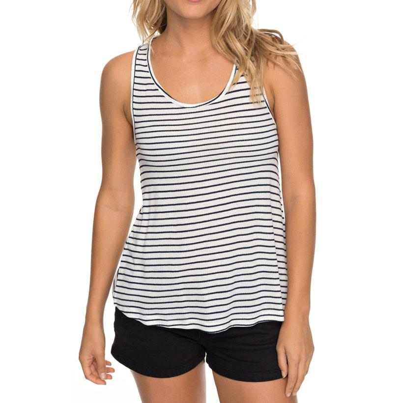 roxy Puerto Rico Smile Tank Top front view womens Tank Top navy/white erjkt03411-btk4
