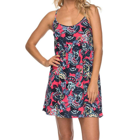 roxy Tropical Sundance Strappy front view casual dress pink/blue erjwd03195-kvj0