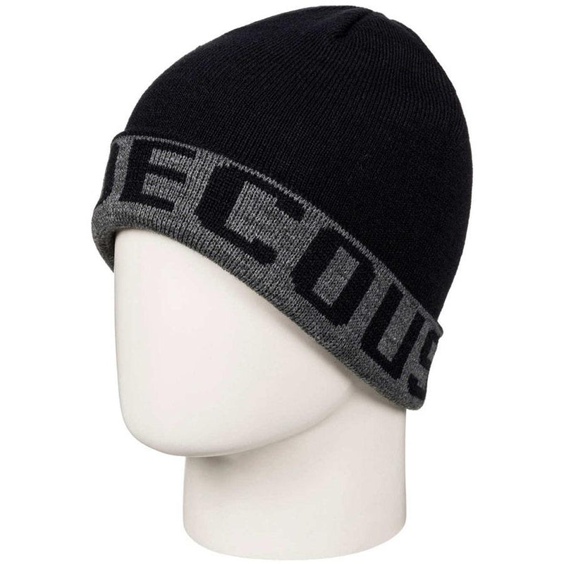 dc Bromont Reversible Cuff Beanie front view youth toques black/grey edbha03014-krp1