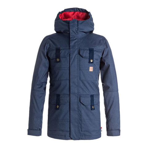 dc Servo Snow Jacket front view youth snowboard jacket navy blue edbtj03017-bsn0