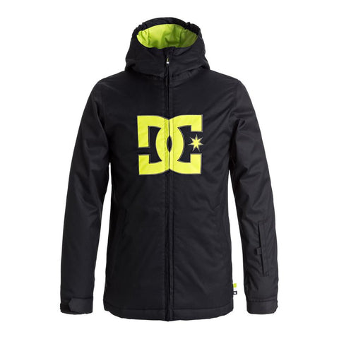 dc Story Snow Jacket boys front view youth snowboard jacket black/yellow edbtj03020-kvj0