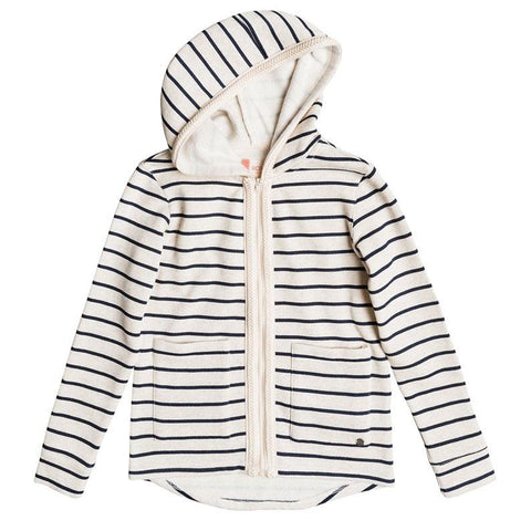 roxy Full Of Love Stripe Zip Up Hoodies front view girls hoodies ergft03240-ten3