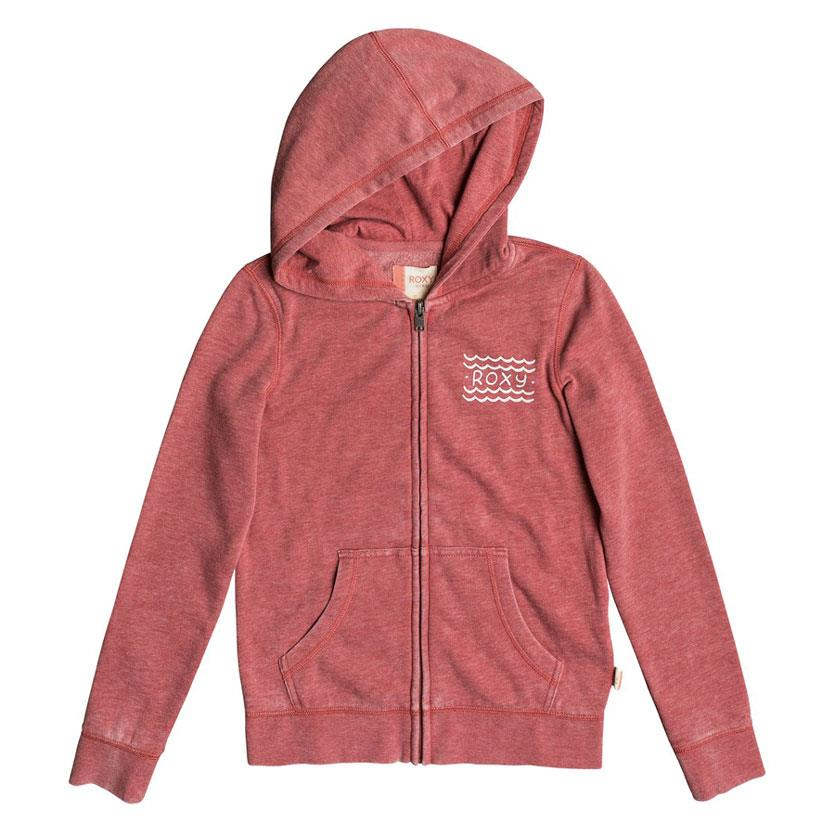 roxy Be The Overflow Hola Beachachas Zip Up Hoodie front view girls hoodies heather red ergft03242-mmr0