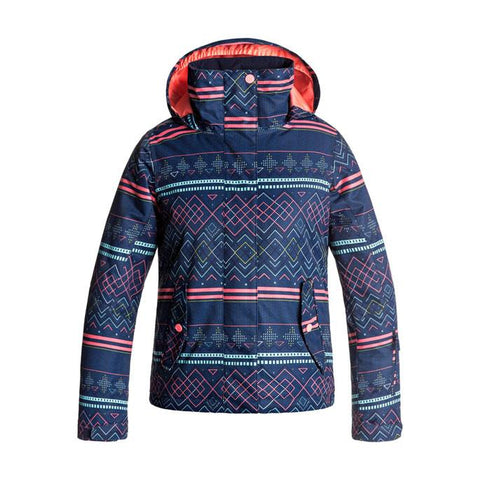 roxy Jetty Snow Jacket girls front view youth  snowboard jacket navy/pink ergtj03033-byb9