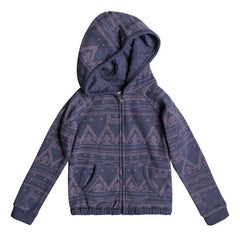 roxy Make Me Swim Zip Up Hoodie front view Girls Hoodies navy/pink erlft03122-bpt6