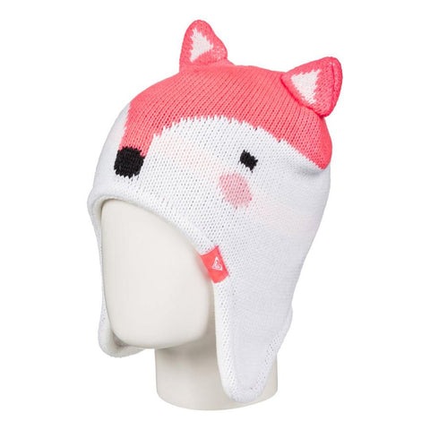 roxy Fox Beanie side view Youth Toques white/pink erlha03028-nkn0