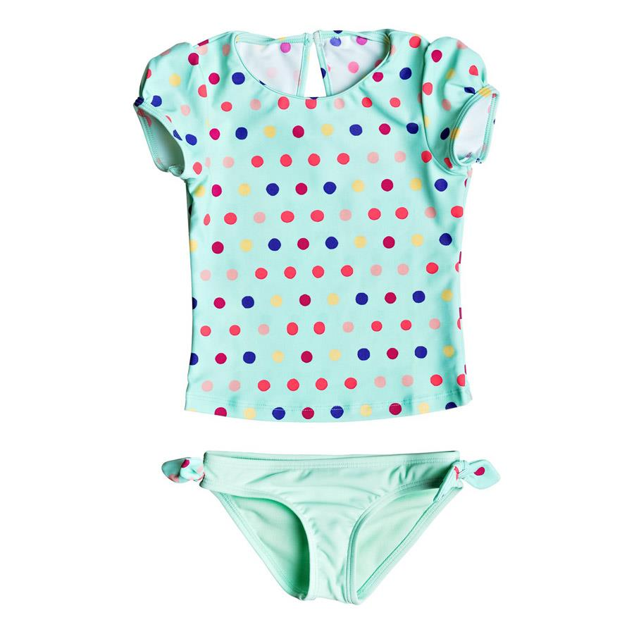 roxy  Rainbow Dots Cap Sleeve Rashguard Set front view Girls Swimwear aqua erlwr03033-gcz6