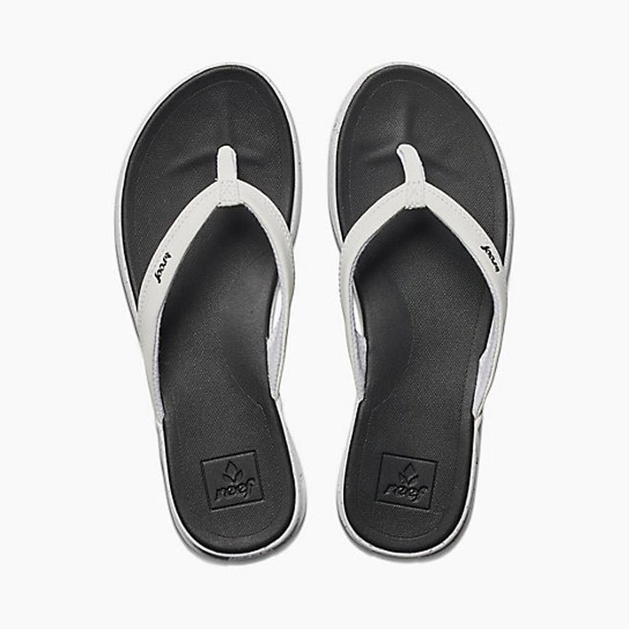 reef Rover Catch Pop Flip Flops top view Womens Flip Flops black/white rf0a3feq-blw