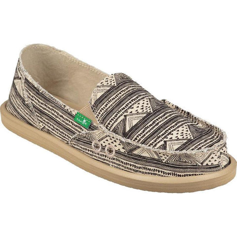 sanuk Donna Geo Stripes side view  Womens Slip On Shoes black print 1020251-btgs