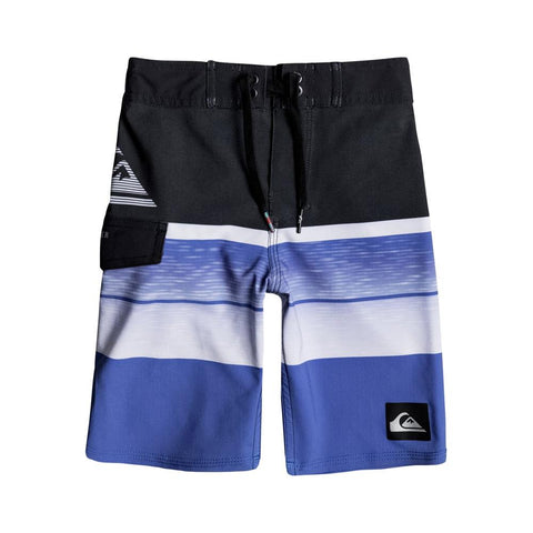 "quicksilver Slab Logo Boys 14"" front view Boys Board Shorts blue/black eqkbs03133-bpb6"