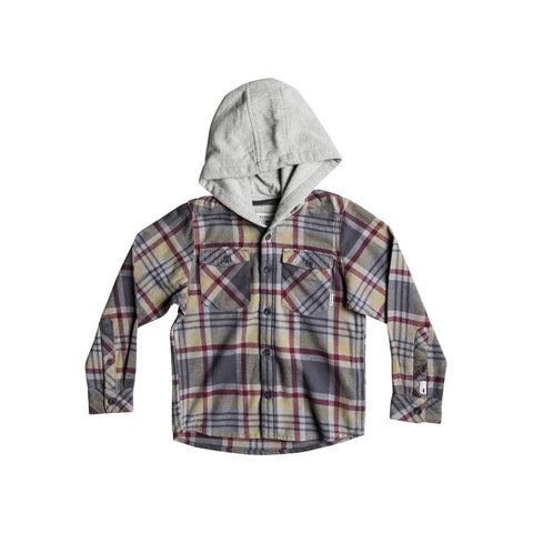 quicksilver Hooded Tang L/S Shirt front view Boys Button Up Long Sleeve grey/red eqkwt03127-tzj1