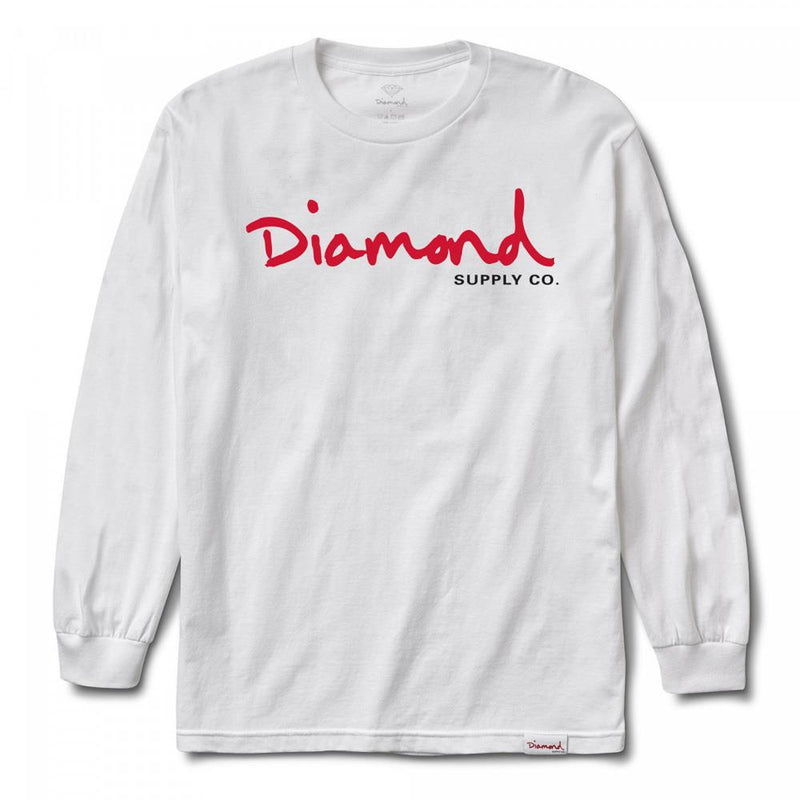 diamond OG Script L/S front view Mens T-Shirts Short Sleeve white a18dmpc025