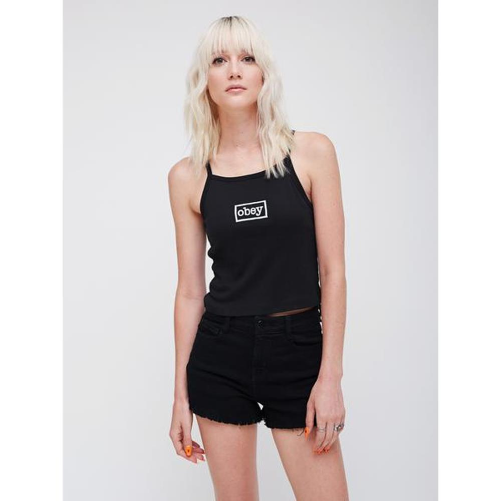 obey Ava Copped Tank front view Womens Tank Tops black 266831266-blk