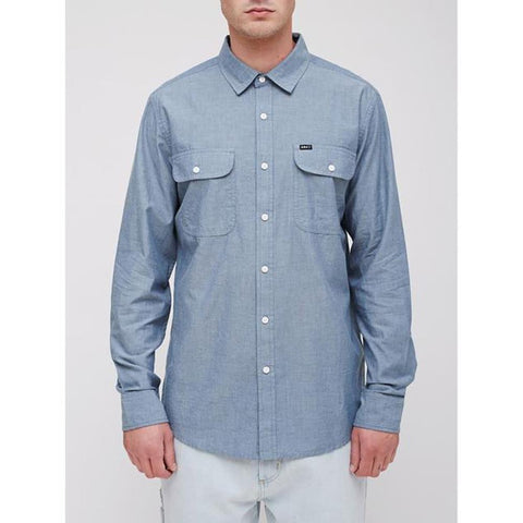 obey Glassesl Woven front view Mens Button Up Long Sleeve Shirts light blue 181200224-lbl