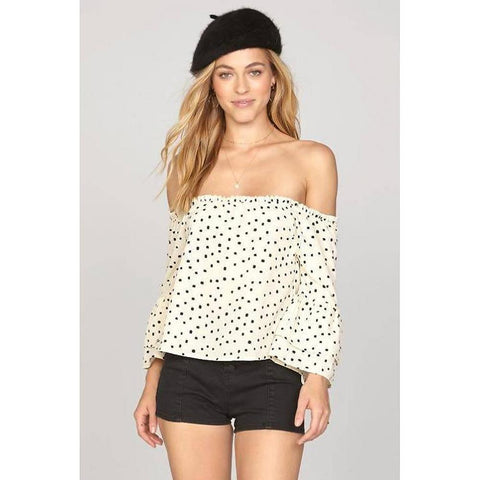 amuse society Chappelle Woven front view Womens Fashion Tops white/black a517gha