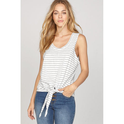 amuse society Fade Away Knit front view Womens Tank Tops white stripe a910gfad