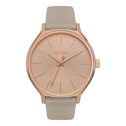 A1250-2239-00, ROSE GOLD/ GREY, NIXON, CLIQUE LEATHER, WOMENS LEATHER WATCHES