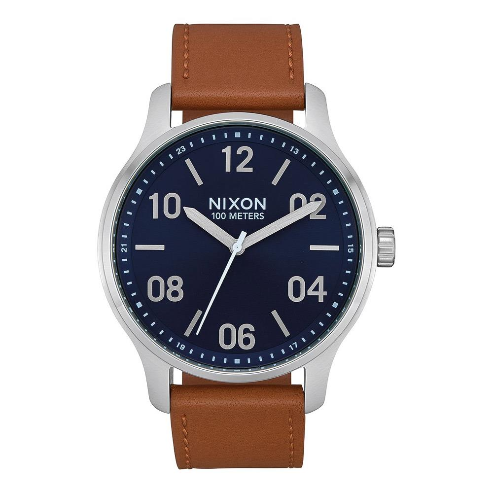 A1243-2186-00 NAVY/ SADDLE, Patrol Leather Watch, Nixon, Mens Leather Band Watches