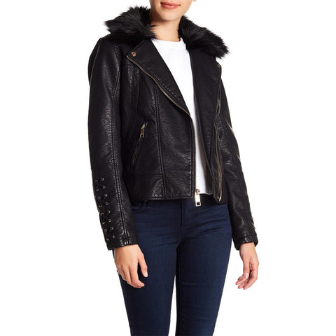 22kmu110-blk guess moto jacket womens casual jackets black