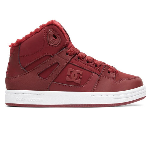 adgs100082-bur dc girls pure winter high top kids winter boots burgundy