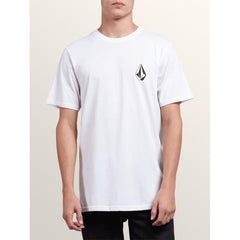 a5031810-whit volcom deadle stone s/s tee front view mens t-shirts slim fit white