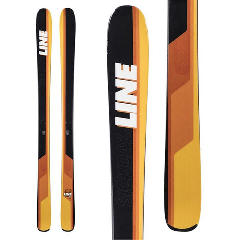 a18031201172 line skis sick day 94 top and closeup view mens skis black/yellow