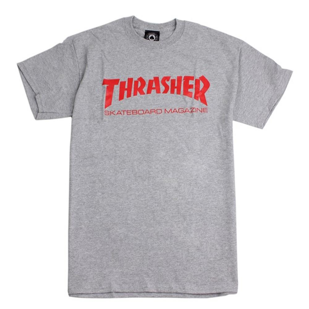 thrasher skate mag tee front view mens t-shirts short sleeve grey/red