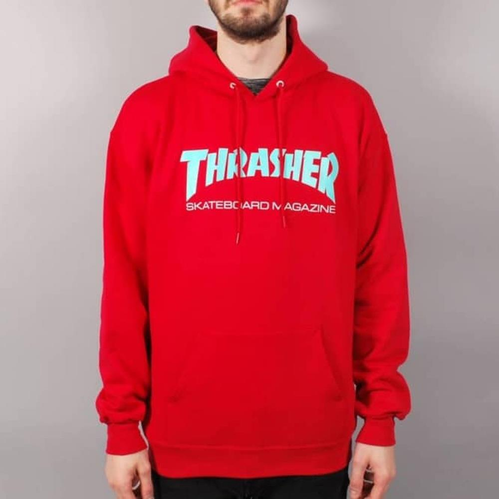 thrasher skate mag hood front view mens pullover hoodies red