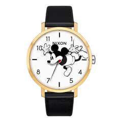 nixon arrow leather mickey front view womens leather bands black gold