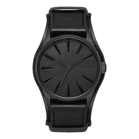 nixon sentry leather metallica front view mens leather bands black