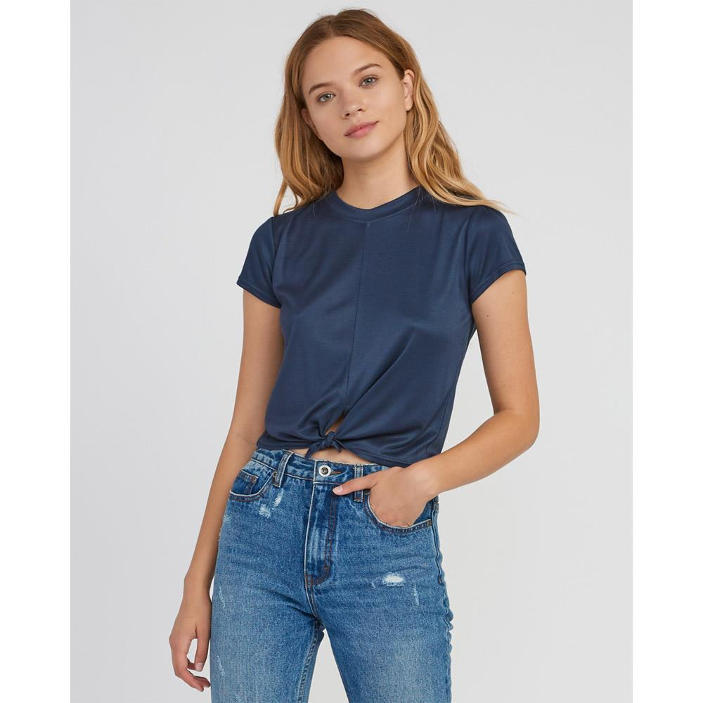 rvca taut knot top front view womens fashion tops blue