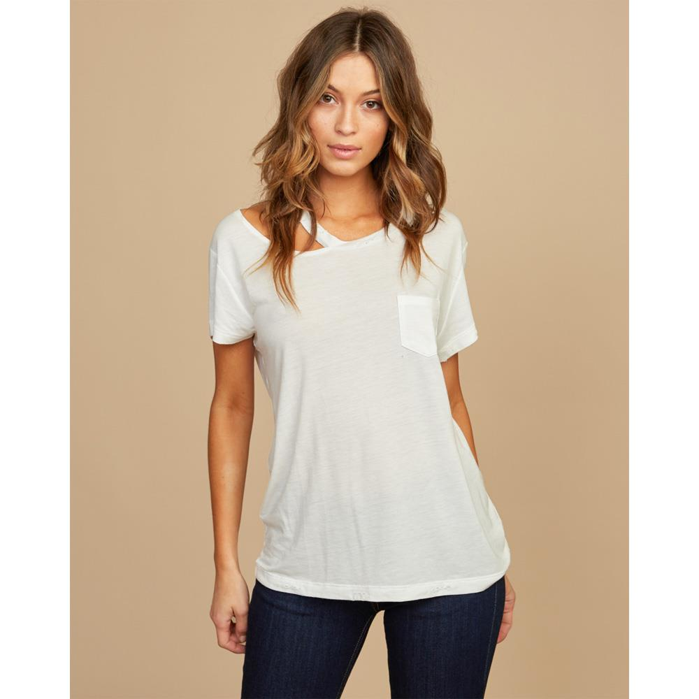 rvca ellis shirt front view womens short sleeve shirts white