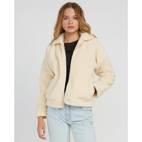 rvca ted sherpa front view womens casual jackets white