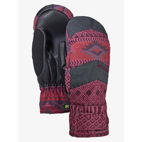 burton prospect under mitten front and back womens mitts burgundy